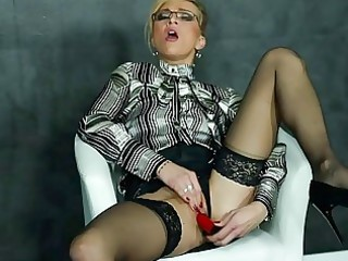 pushing dildo lady in blouse and highheels