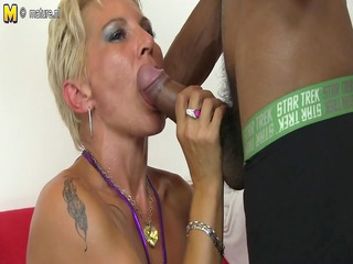 hawt white mommy into an mixed group fuck