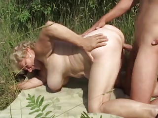 german elderly outside with inexperienced male by