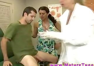 horny breasty milf nurses give great handjob
