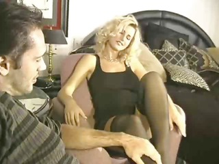sexy blonde gang-banged in nylons