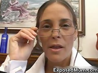 awesome milf into glasses deepthroating brown