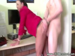 cfnm lady drill and tug inside bureau