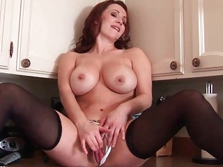 naughty ginger lady angel devices her fanny into
