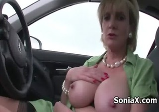 chesty mature vibrating her love button outdoor