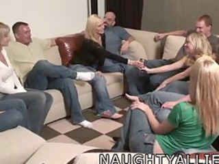 party game leads to a huge group sex swinger