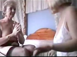 two grannies tease inside panties and nylons