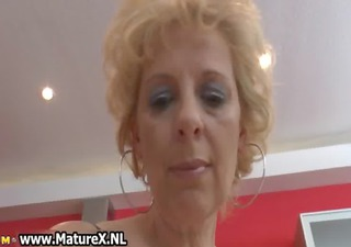 blonde mature wife in dark nylons