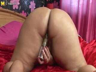 big chubby elderly floozy mother doing herself