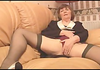 shaggy granny in nylons plays with pants then