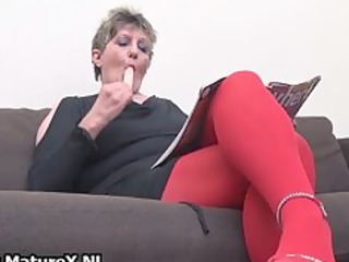 desperate older woman inside red pantyhose part4