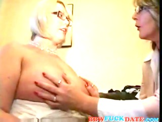 two bbw homosexual woman grandmothers playing