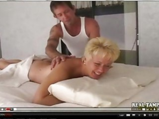 fresh mother gangbanged on massage desk
