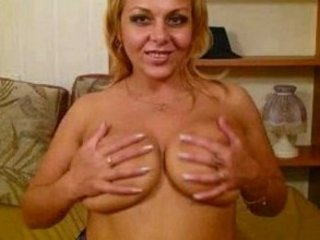 squeezing older  lady with large bossom