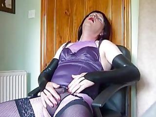 grown-up crossdresser inside purple panties