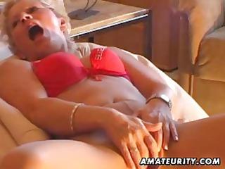 fresh milf masturbates, licks and copulates with