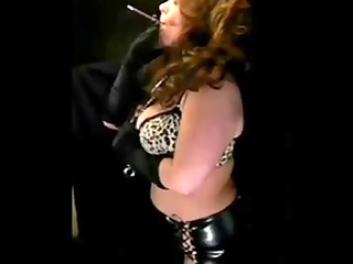 hot grown-up into leather smoking solo