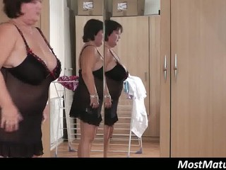 fat cougar woman touches her cave
