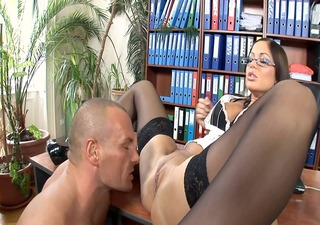 office secretary drilled in nylons and heels