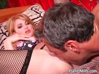 bleached lady inside dark lingerie satisfying