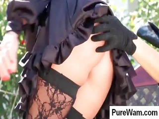 awesome brunette slave is taken al fresco and