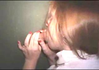 redhead wife at gloryhole , ball cream pie at end