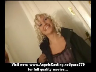 awesome blonde lady as bride does fellatio and