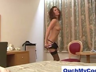 naughty cougar angel gives cheeky male a harsh
