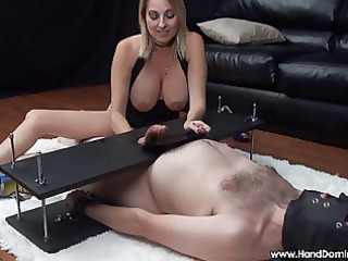mean dominant woman uses helpless slave during