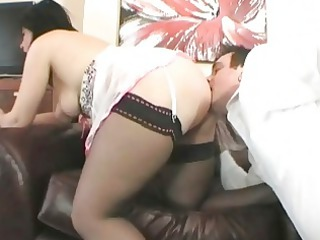 classy british brunette milf drilled on the
