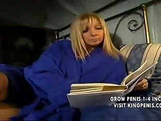 blond american mother teases with son