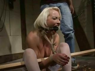 older  blonde gets bondaged and punished