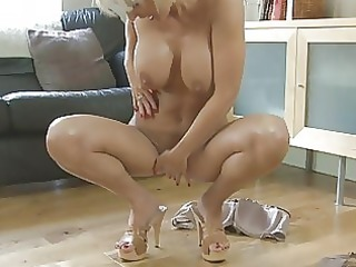 sensual pale momma with huge tits inside shoes