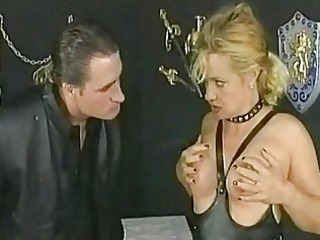 pale woman slave with her tits tied together got