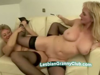 awesome nylons milf teases with blonde grannys