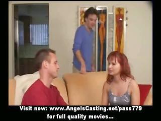 ginger milf as bride does blowjob for huge guy in