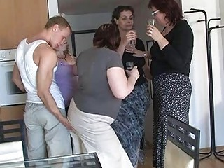 two by two naughty women seduced pretty lad to