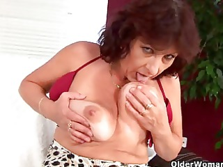 big boobed elderly fist gangbangs her bushy kitty