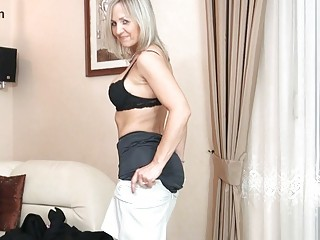 bootylicious blond woman inside ebony nylons