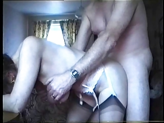 saggy boobs - old gangbanged from behind