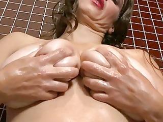 lusty huge boobed milf bitch masturbates
