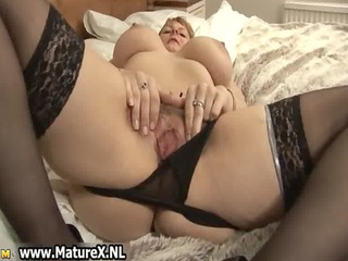 large bossom mature woman with black stockings