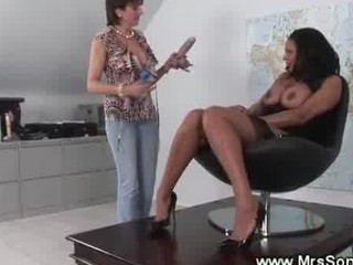desperate cougar pierced with strapon penis