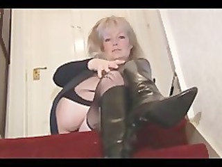 grown-up busty pale babe into stockings and mini