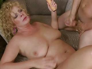 busty grownup girl slurps on huge chubby prick
